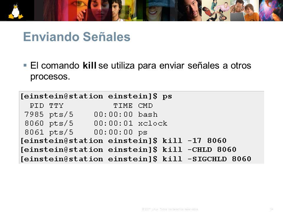 Enviando Señales El comando kill se utiliza para enviar señales a otros procesos.