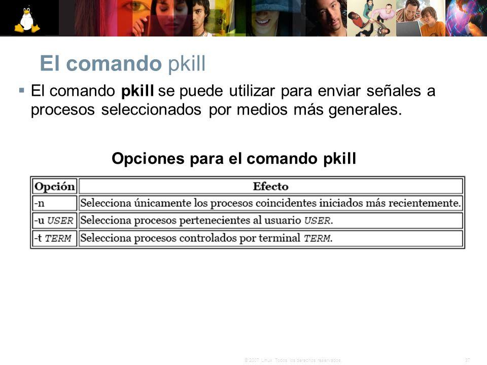Opciones para el comando pkill