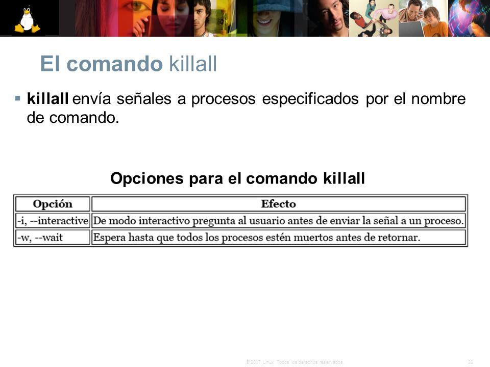 Opciones para el comando killall