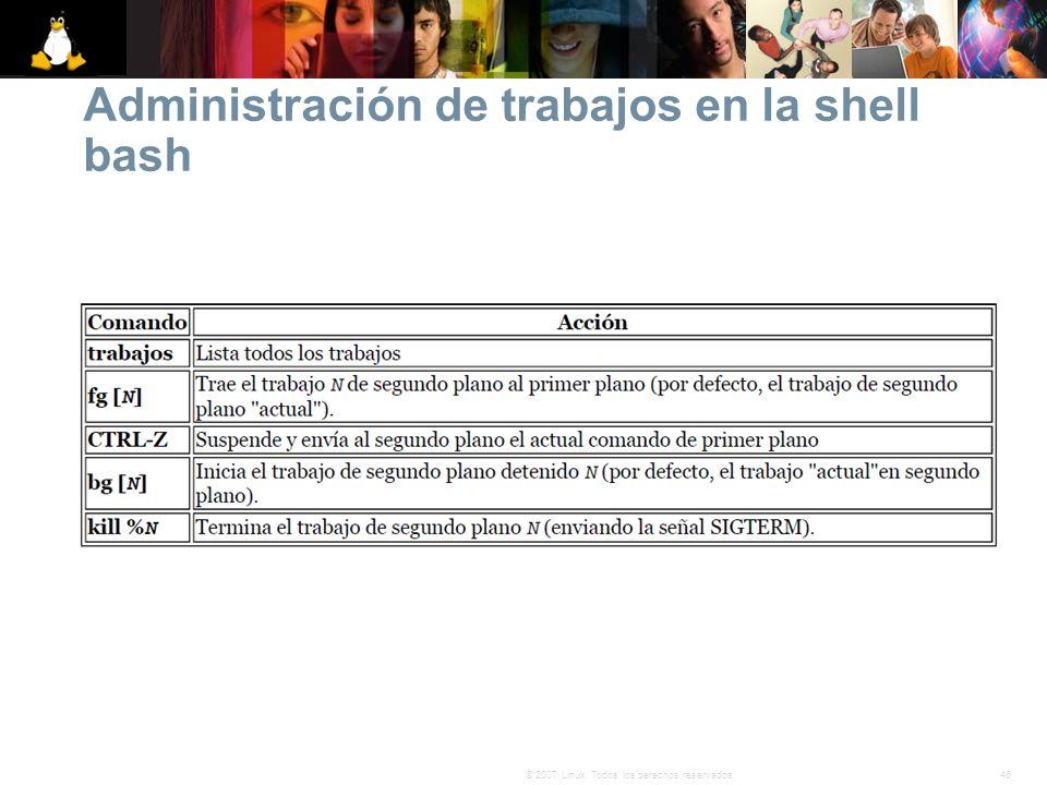 Administración de trabajos en la shell bash