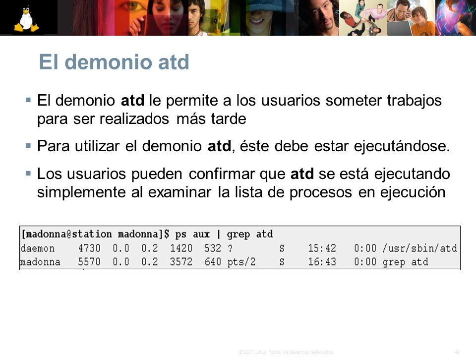 El demonio atdEl demonio atd le permite a los usuarios someter trabajos para ser realizados más tarde.