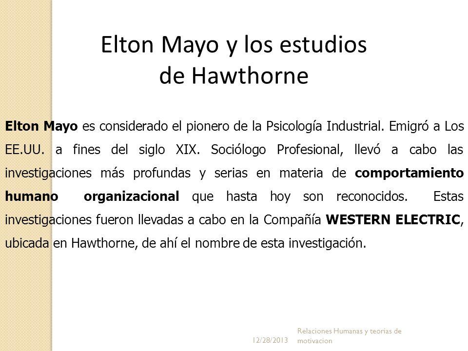 Elton Mayo y los estudios