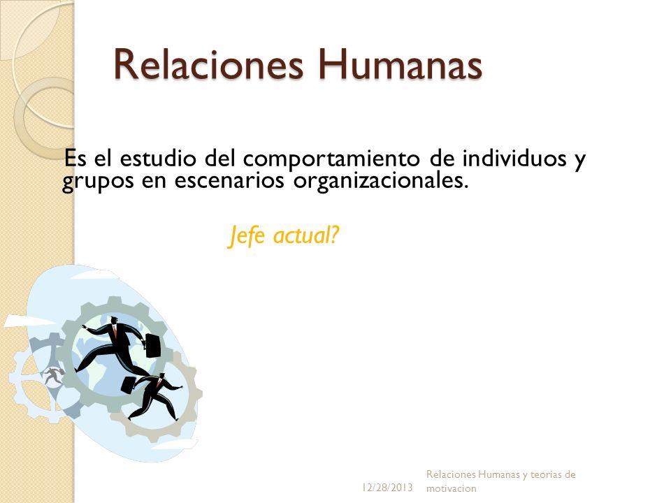 Relaciones Humanas Es el estudio del comportamiento de individuos y grupos en escenarios organizacionales.