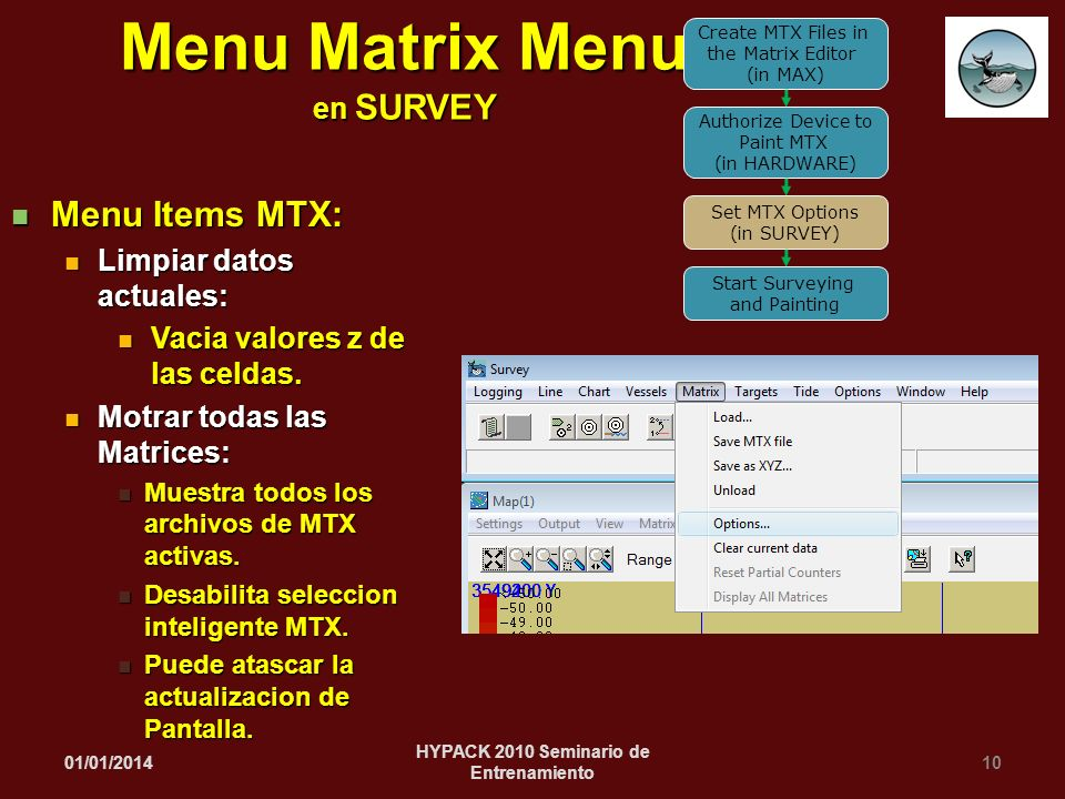 Menu Matrix Menu en SURVEY HYPACK 2010 Seminario de Entrenamiento