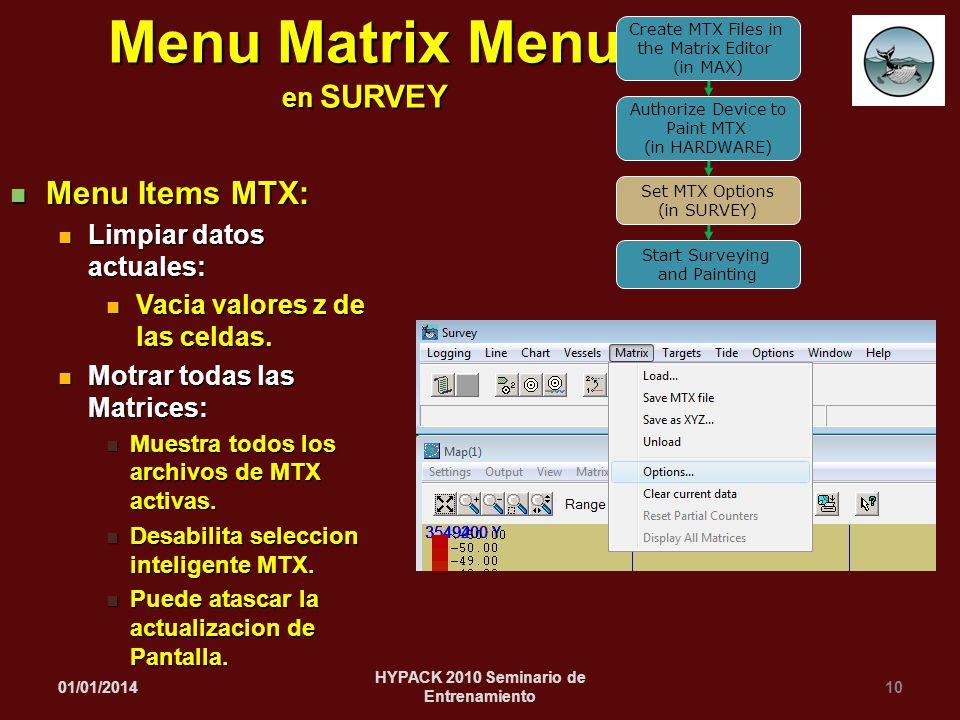 Menu Matrix Menu en SURVEY HYPACK 2010 Seminario de Entrenamiento