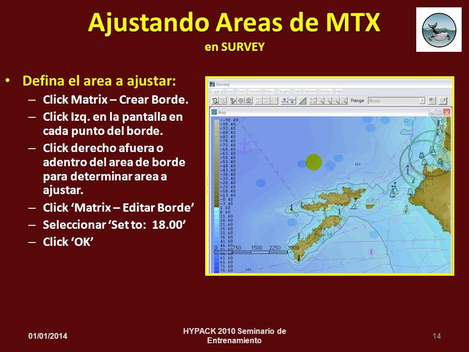 Ajustando Areas de MTX en SURVEY