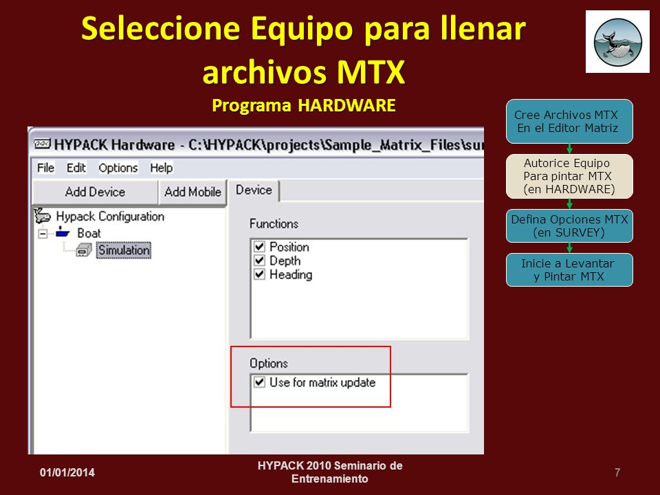 Seleccione Equipo para llenar archivos MTX Programa HARDWARE