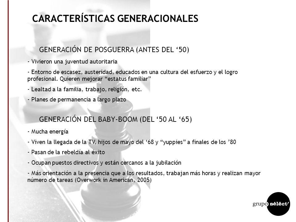 CARACTERÍSTICAS GENERACIONALES