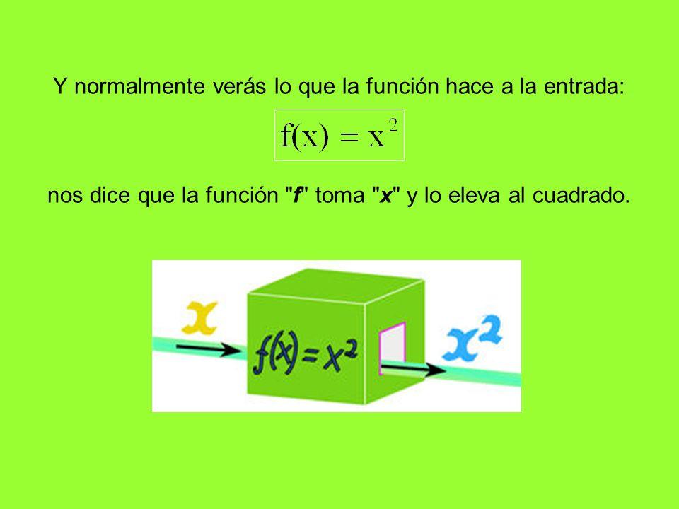 Y normalmente verás lo que la función hace a la entrada: nos dice que la función f toma x y lo eleva al cuadrado.