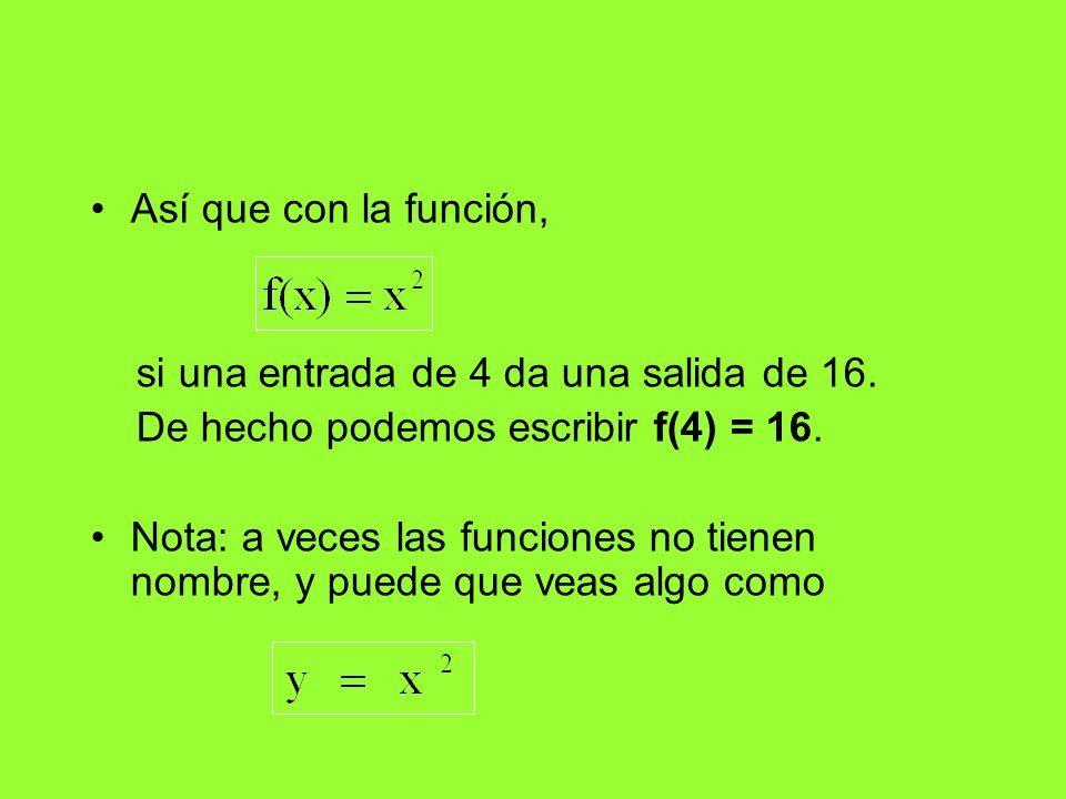 Así que con la función,si una entrada de 4 da una salida de 16. De hecho podemos escribir f(4) = 16.