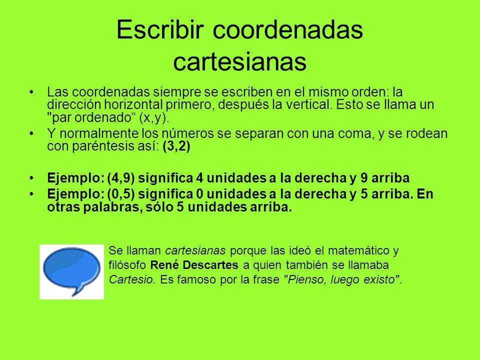 Escribir coordenadas cartesianas