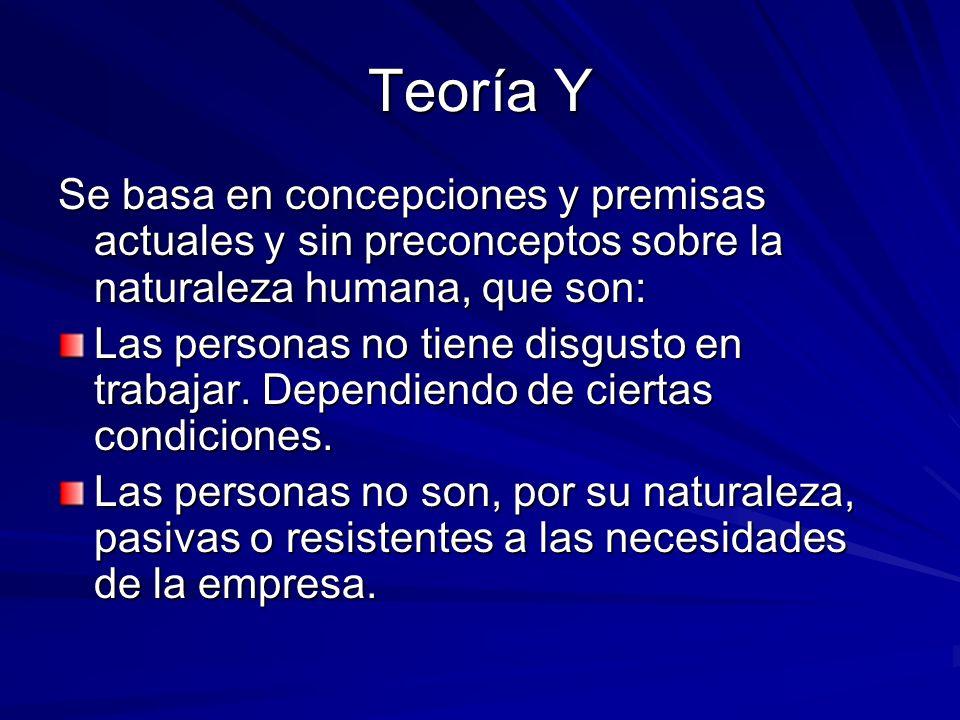 Teoría Y Se basa en concepciones y premisas actuales y sin preconceptos sobre la naturaleza humana, que son: