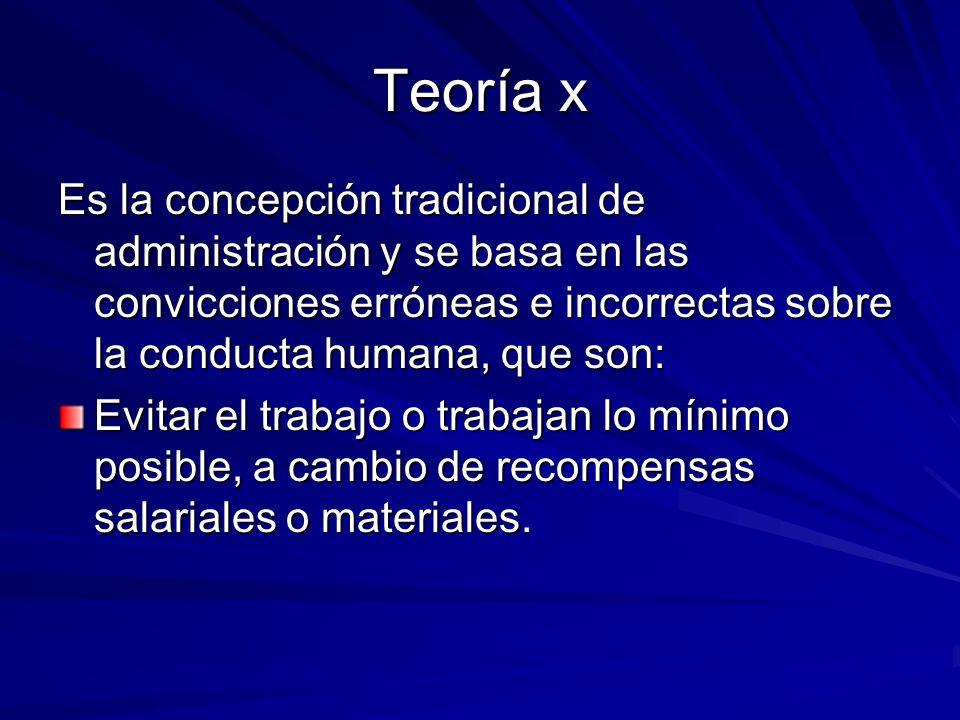 Teoría x Es la concepción tradicional de administración y se basa en las convicciones erróneas e incorrectas sobre la conducta humana, que son: