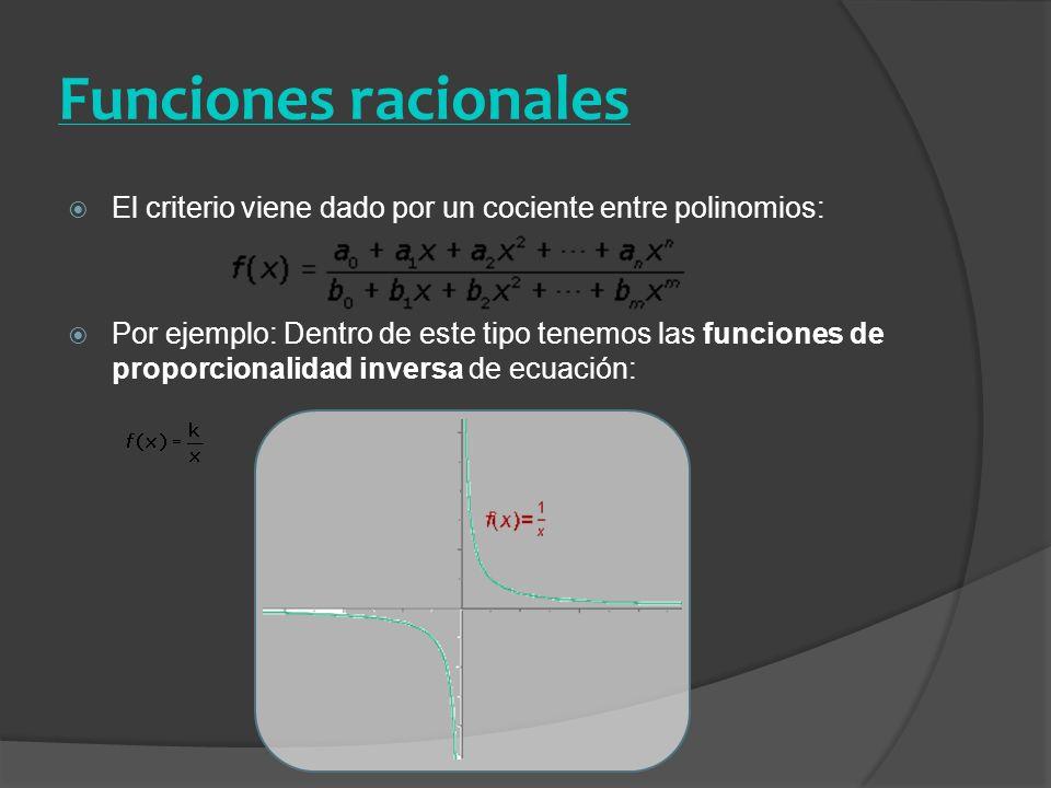 Funciones racionales El criterio viene dado por un cociente entre polinomios:
