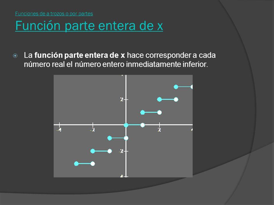 Funciones de a trozos o por partes Función parte entera de x