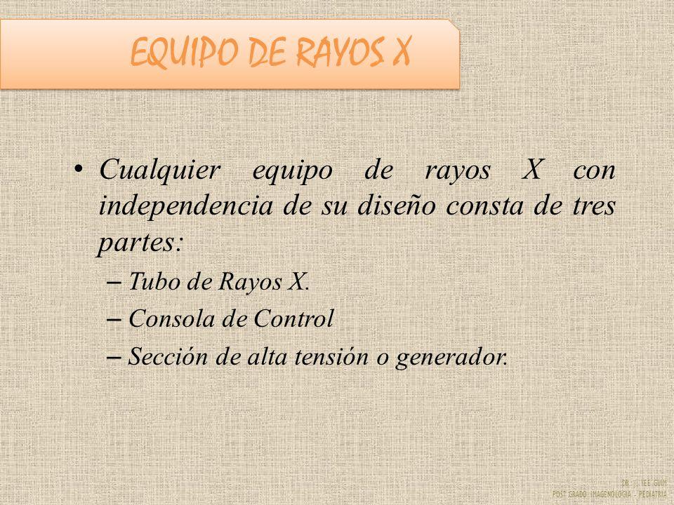 EQUIPO DE RAYOS X Cualquier equipo de rayos X con independencia de su diseño consta de tres partes:
