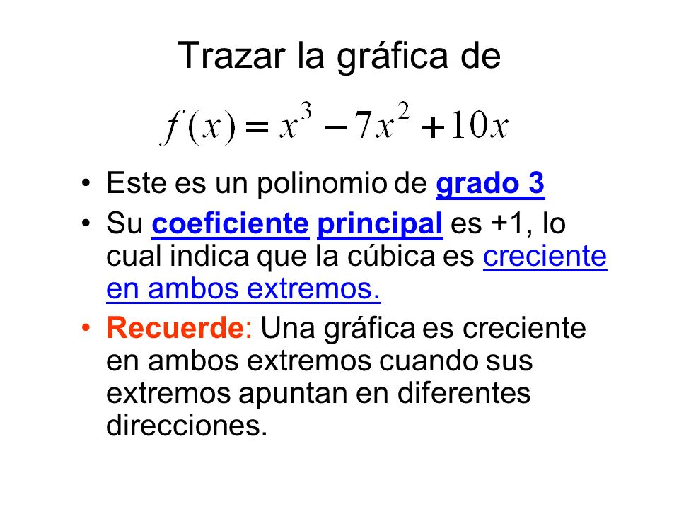 Trazar la gráfica de Este es un polinomio de grado 3