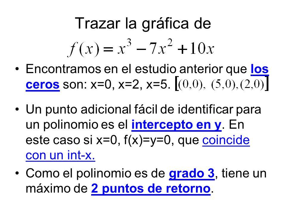 Trazar la gráfica de Encontramos en el estudio anterior que los ceros son: x=0, x=2, x=5.