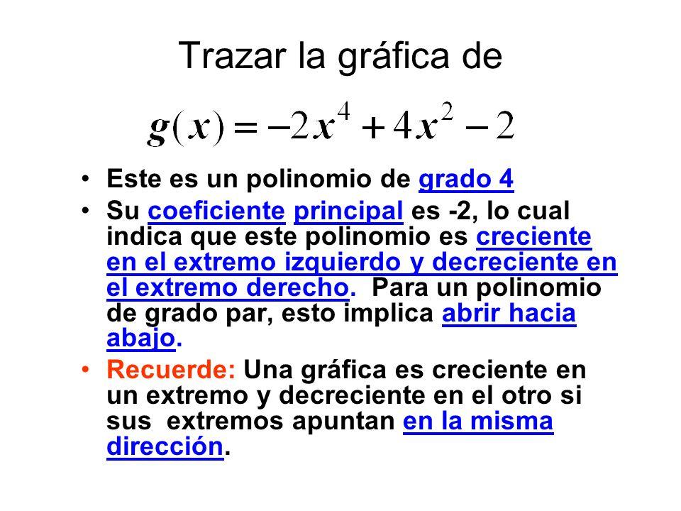 Trazar la gráfica de Este es un polinomio de grado 4