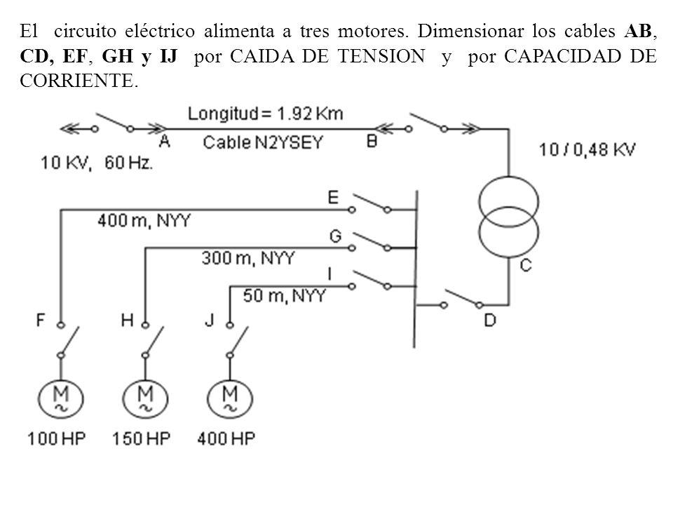 El circuito eléctrico alimenta a tres motores