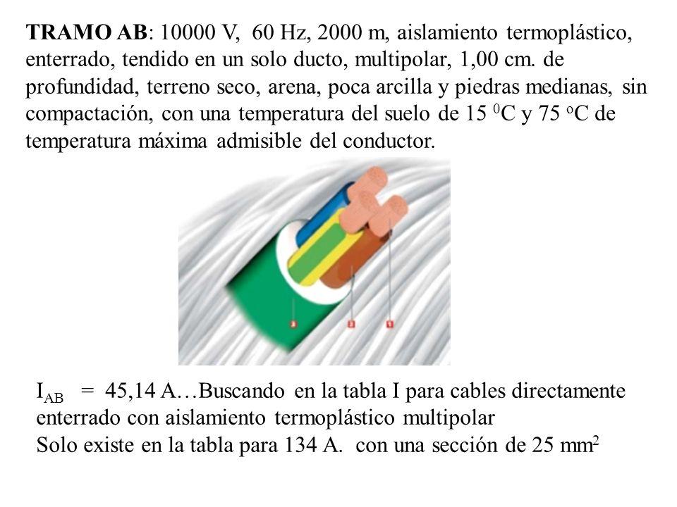 TRAMO AB: 10000 V, 60 Hz, 2000 m, aislamiento termoplástico, enterrado, tendido en un solo ducto, multipolar, 1,00 cm. de profundidad, terreno seco, arena, poca arcilla y piedras medianas, sin compactación, con una temperatura del suelo de 15 0C y 75 oC de temperatura máxima admisible del conductor.