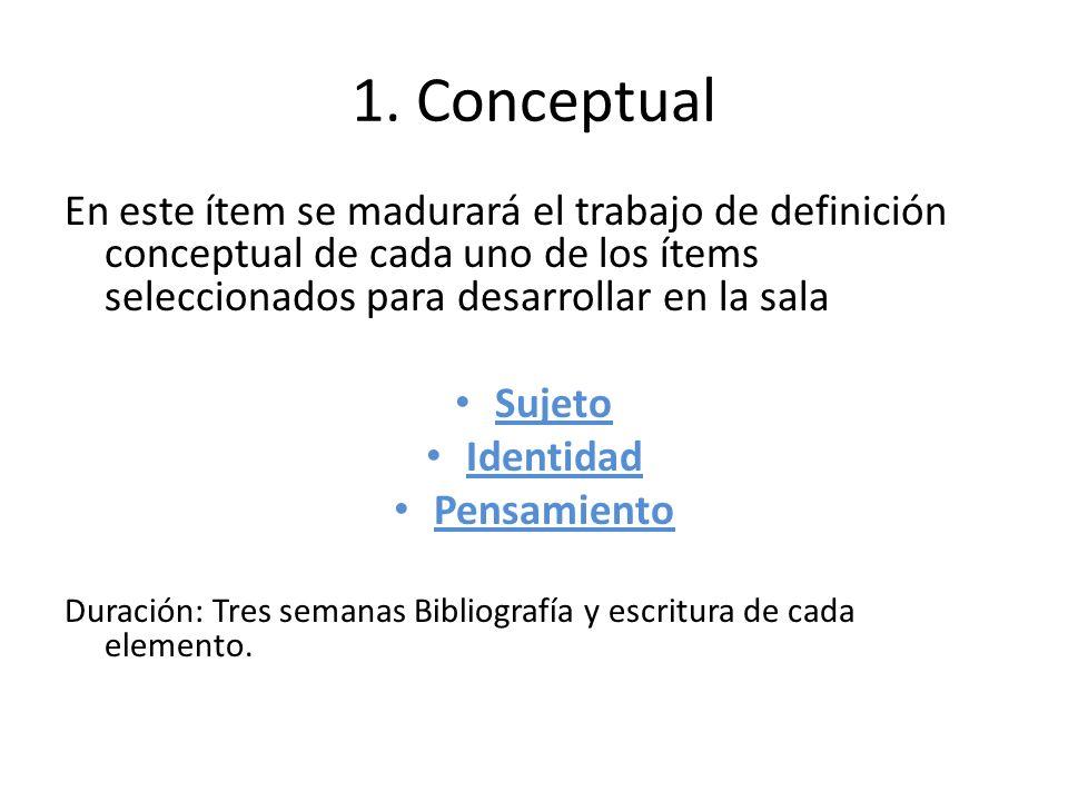 1. ConceptualEn este ítem se madurará el trabajo de definición conceptual de cada uno de los ítems seleccionados para desarrollar en la sala.