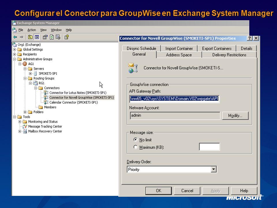 Configurar el Conector para GroupWise en Exchange System Manager