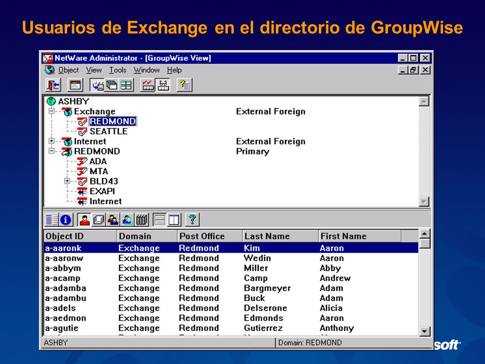 Usuarios de Exchange en el directorio de GroupWise