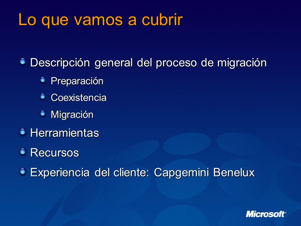 Lo que vamos a cubrir Descripción general del proceso de migración