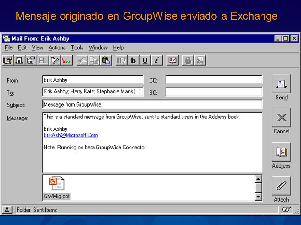 Mensaje originado en GroupWise enviado a Exchange