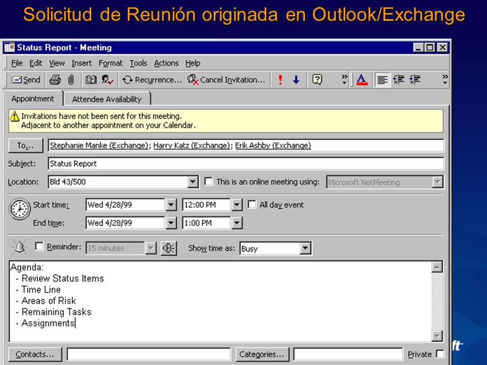 Solicitud de Reunión originada en Outlook/Exchange