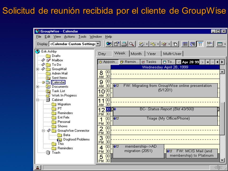 Solicitud de reunión recibida por el cliente de GroupWise