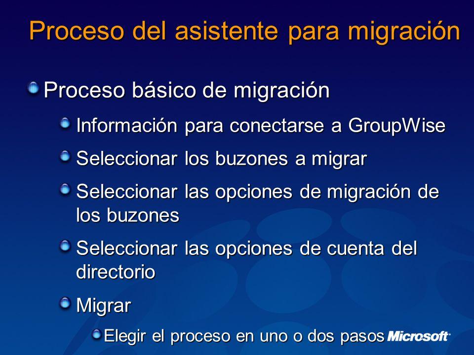 Proceso del asistente para migración