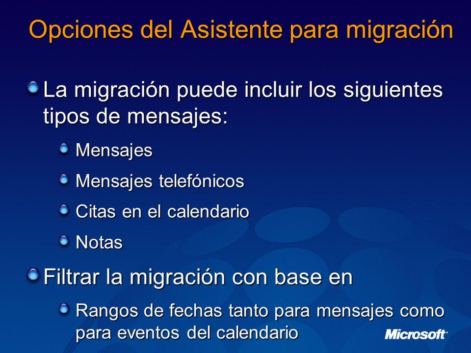 Opciones del Asistente para migración