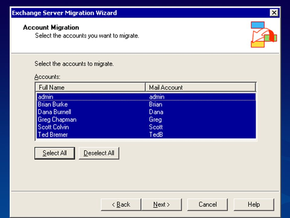 Migration Wizard showing the directory options -- two choices: new Windows account or an existing acct is found, and simply becomes main enabled.