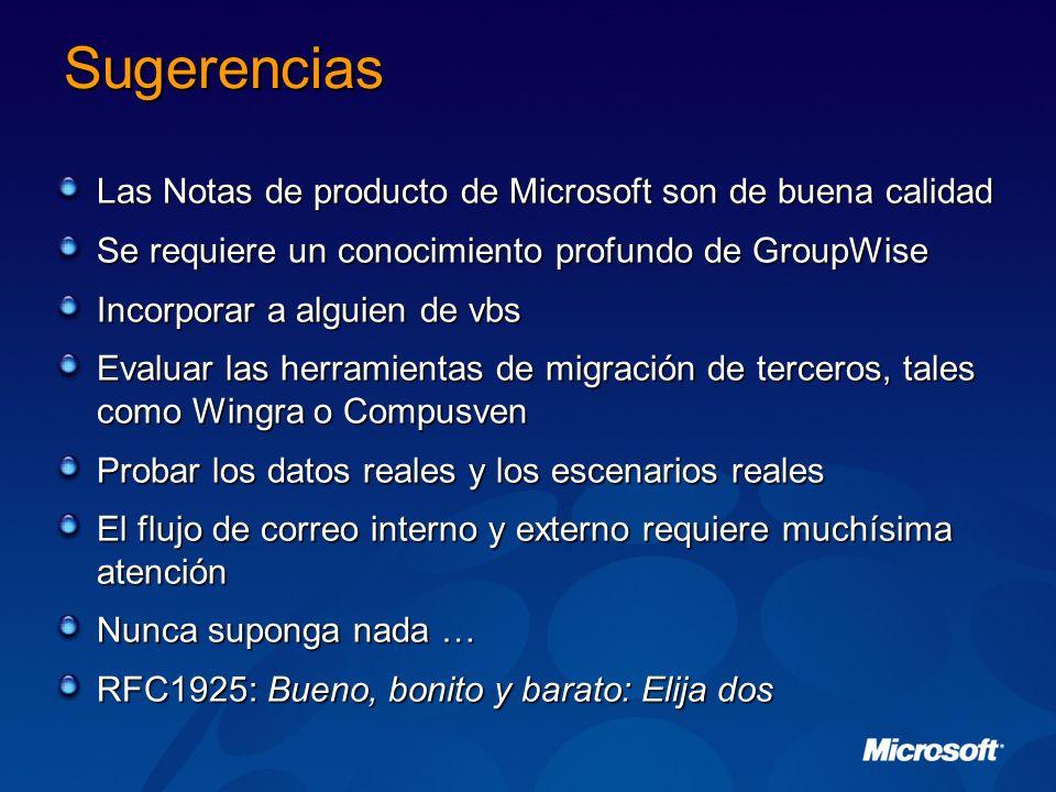 Sugerencias Las Notas de producto de Microsoft son de buena calidad