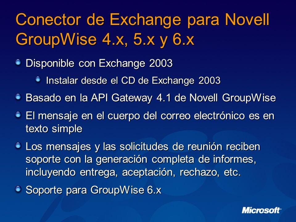 Conector de Exchange para Novell GroupWise 4.x, 5.x y 6.x