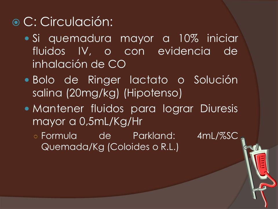 C: Circulación: Si quemadura mayor a 10% iniciar fluidos IV, o con evidencia de inhalación de CO.