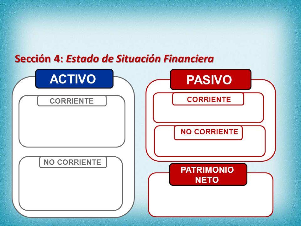 ACTIVO PASIVO Sección 4: Estado de Situación Financiera