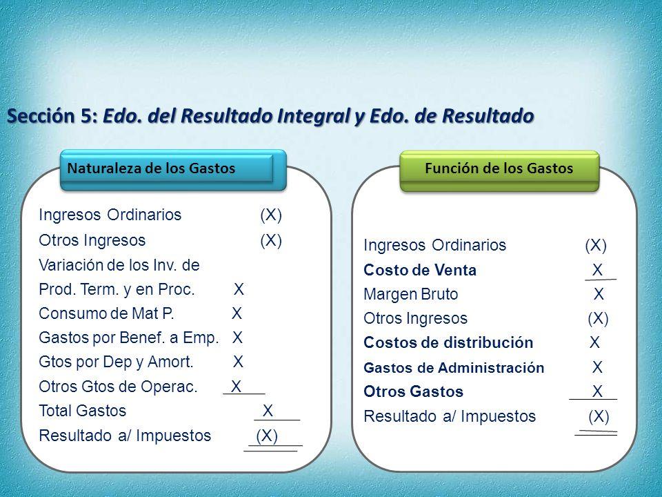 Sección 5: Edo. del Resultado Integral y Edo. de Resultado