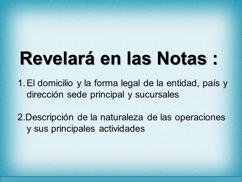 Revelará en las Notas :El domicilio y la forma legal de la entidad, país y dirección sede principal y sucursales.