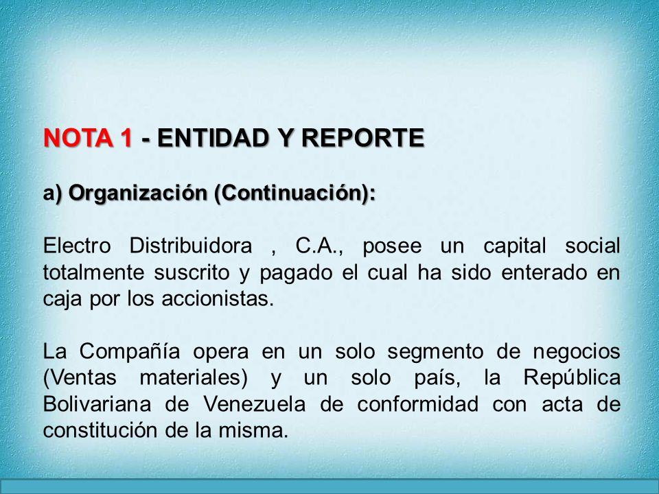 NOTA 1 - ENTIDAD Y REPORTE