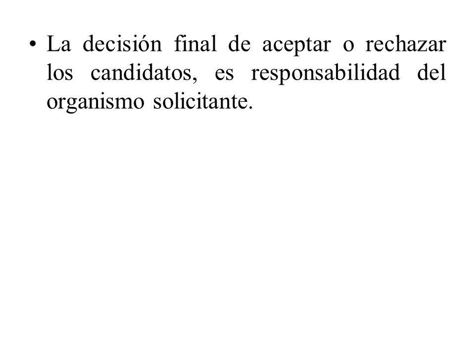 La decisión final de aceptar o rechazar los candidatos, es responsabilidad del organismo solicitante.