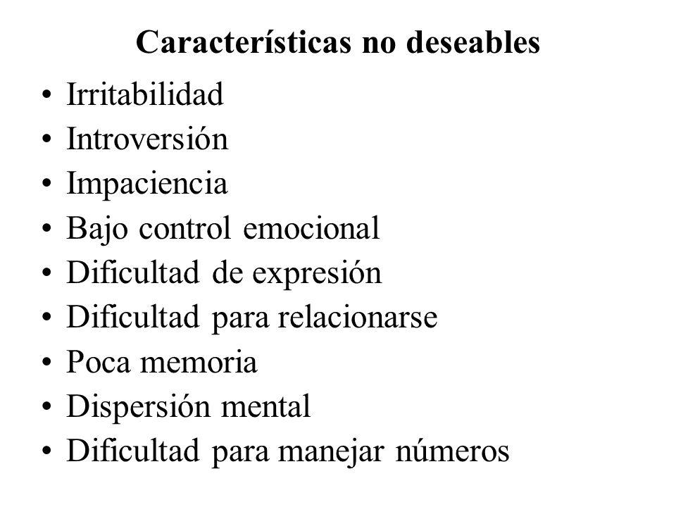 Características no deseables
