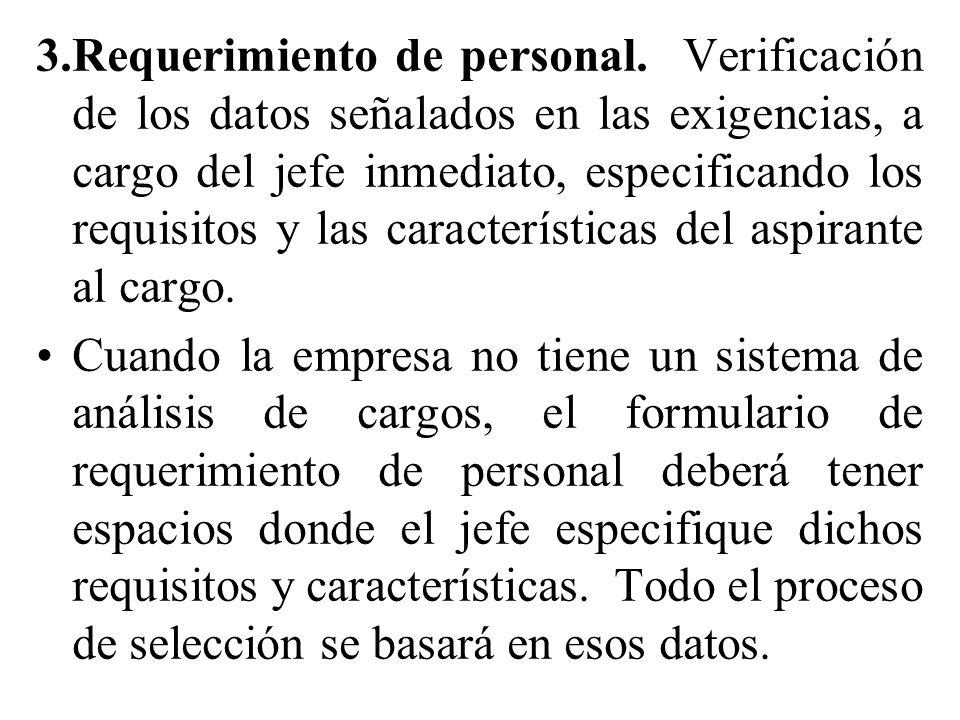 3. Requerimiento de personal