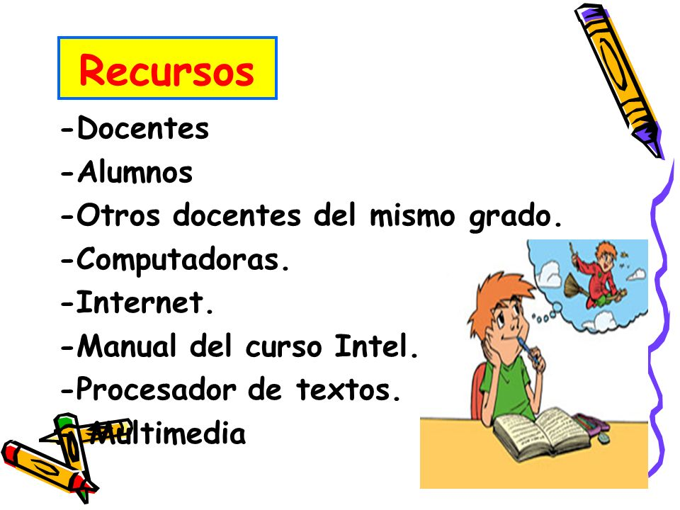 Recursos -Docentes -Alumnos -Otros docentes del mismo grado.