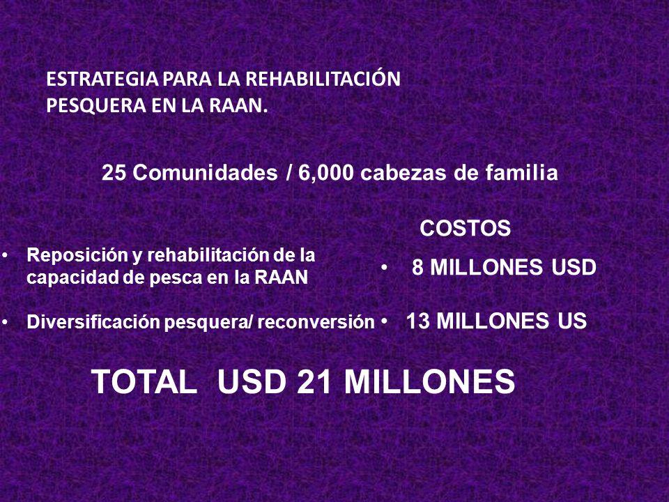 TOTAL USD 21 MILLONES ESTRATEGIA PARA LA REHABILITACIÓN