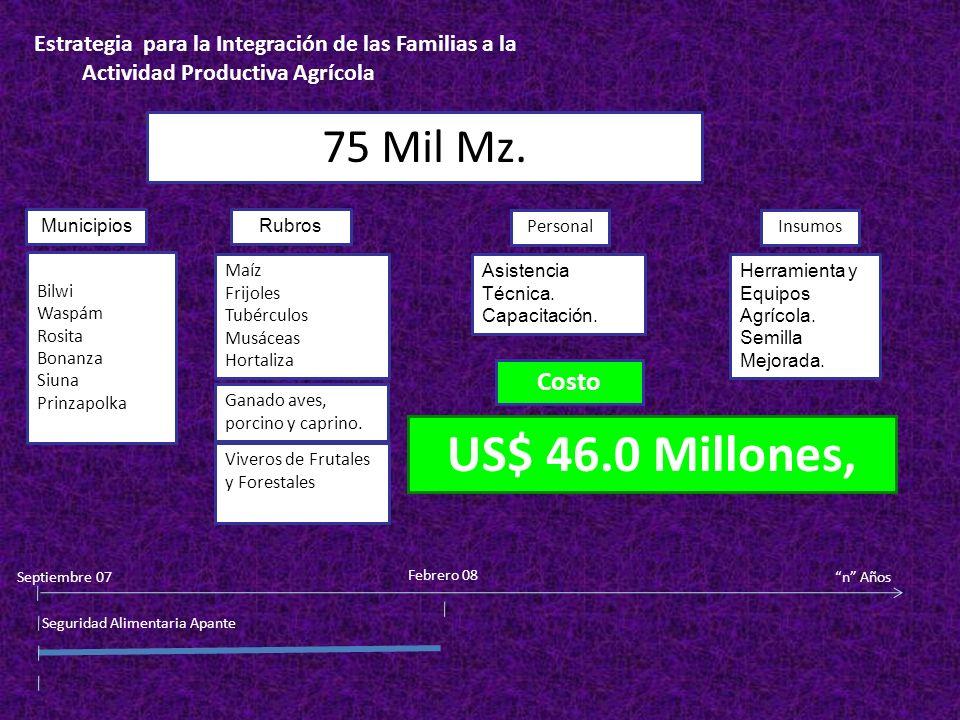 US$ 46.0 Millones, 75 Mil Mz. Costo