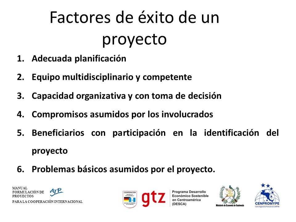 Factores de éxito de un proyecto