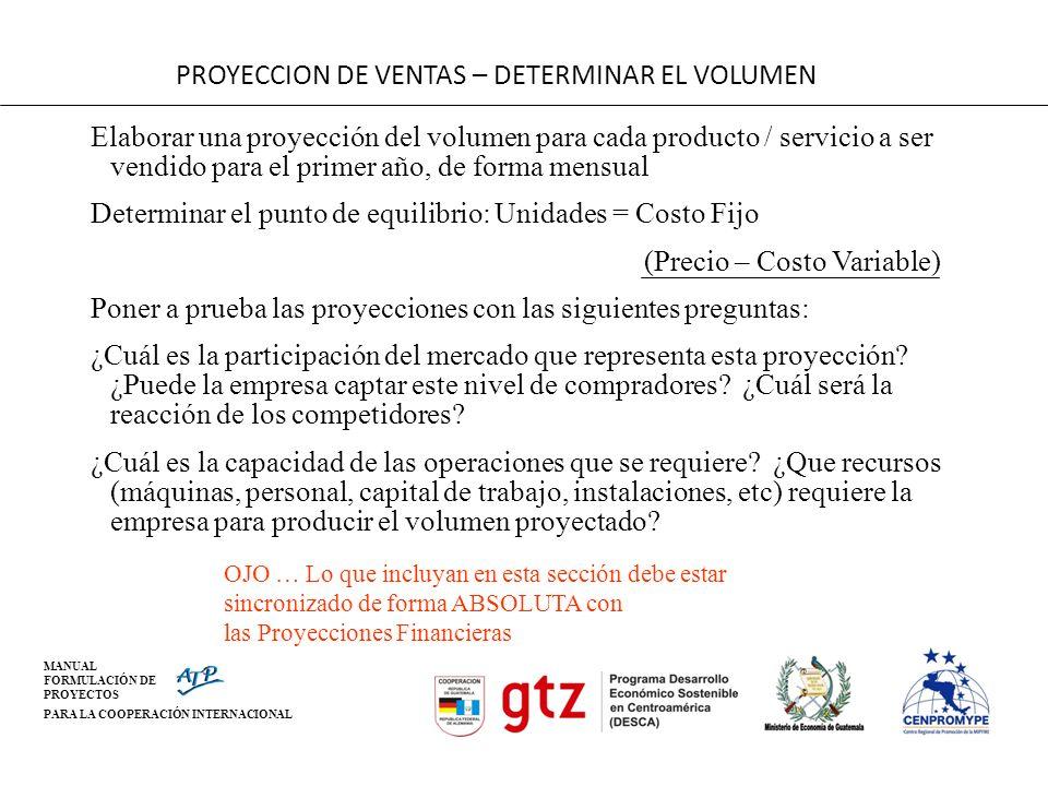 PROYECCION DE VENTAS – DETERMINAR EL VOLUMEN